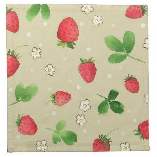 Watercolor strawberries pattern napkin