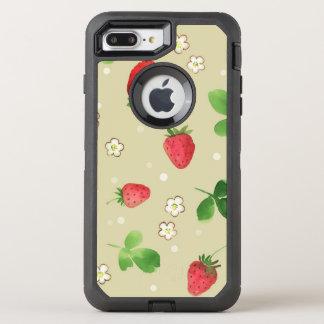 Watercolor strawberries pattern OtterBox defender iPhone 8 plus/7 plus case