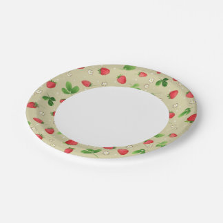 Watercolor strawberries pattern paper plate