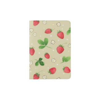 Watercolor strawberries pattern passport holder