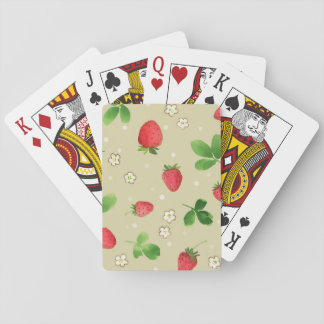 Watercolor strawberries pattern playing cards