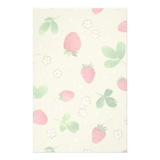 Watercolor strawberries pattern stationery