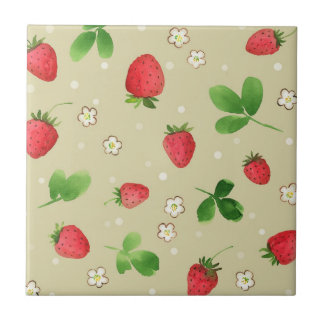 Watercolor strawberries pattern tile