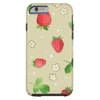 Watercolor strawberries pattern tough iPhone 6 case