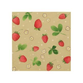 Watercolor strawberries pattern wood canvas