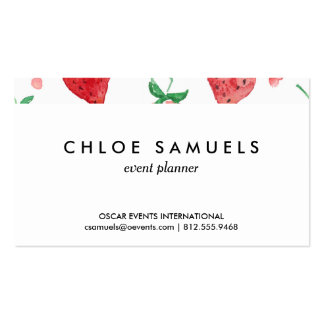 Watercolor Strawberries Pink & Red Painted Berries Pack Of Standard Business Cards
