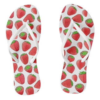 Watercolor Strawberry Flip Flops