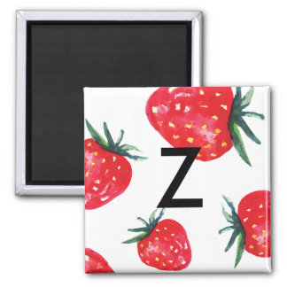 Watercolor Strawberry Initial magnet