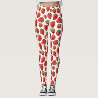 Watercolor Strawberry Leggings