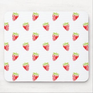 Watercolor Strawberry Pattern Mouse Pad