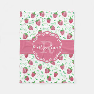 Watercolor Strawberry Pattern with Monogram Fleece Blanket