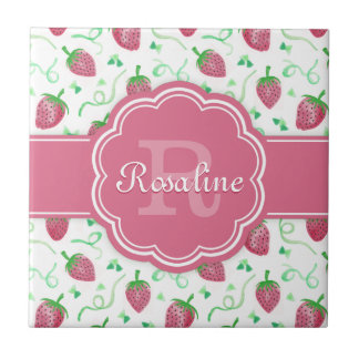 Watercolor Strawberry Pattern with Monogram Tile