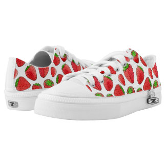 Watercolor Strawberry Printed Shoes