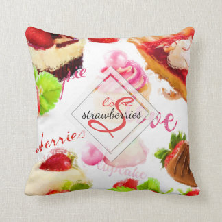 Watercolor Strawberry Sweets Love Monogram Cushion