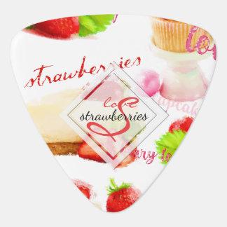 Watercolor Strawberry Sweets Love Monogram Guitar Pick