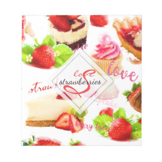 Watercolor Strawberry Sweets Love Monogram Notepad