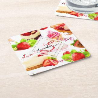 Watercolor Strawberry Sweets Love Monogram Square Paper Coaster