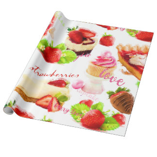 Watercolor Strawberry Sweets Love Wrapping Paper