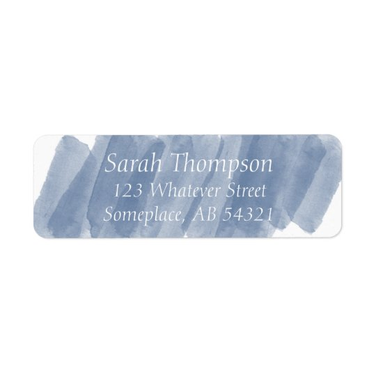Watercolor Streaks Navy Blue Return Address Label