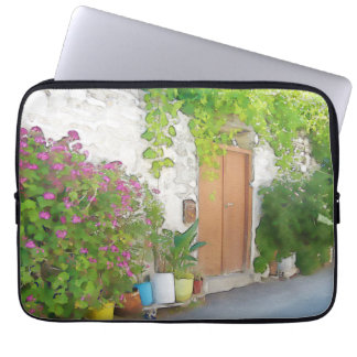 Watercolor street view laptop sleeve
