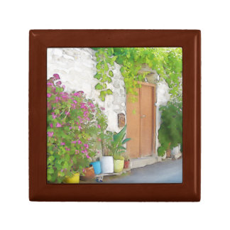 Watercolor street view small square gift box