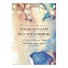 Watercolor String Lights Beach Engagement Party Card
