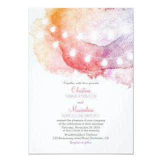 watercolor string lights elegant wedding card