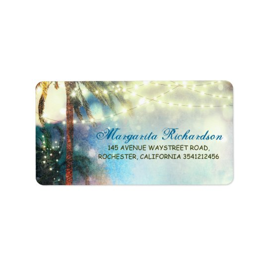 Watercolor String Lights Palms Beach Wedding Label