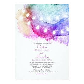 watercolor string lights romantic wedding card