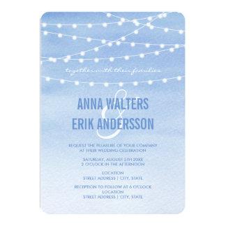 Watercolor String Lights Wedding Card