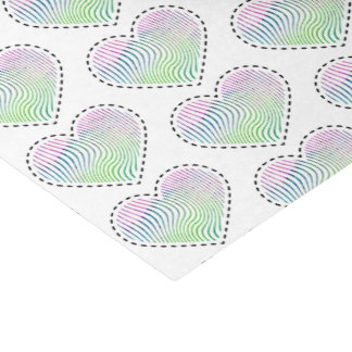 Watercolor striped heart with dashed line tissue paper
