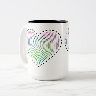 Watercolor striped heart with dashed lines Two-Tone coffee mug