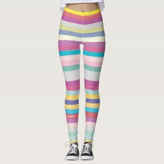 Watercolor Striped Leggings