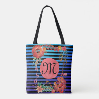 Watercolor Striped Monogram Tote