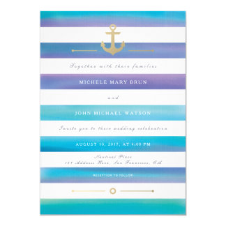Watercolor Striped Nautical Wedding Invite