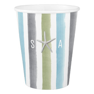 Watercolor stripes beach wedding party monogram paper cup