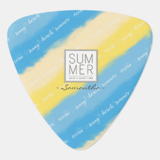 Watercolor Stripes Summer Calligraphy Guitar Pick
