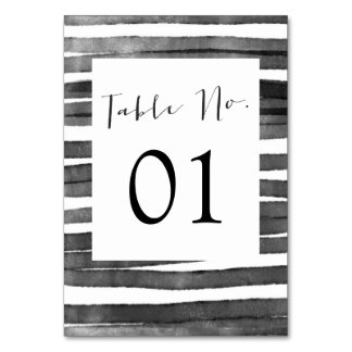Watercolor Stripes | Table Numbers Table Cards