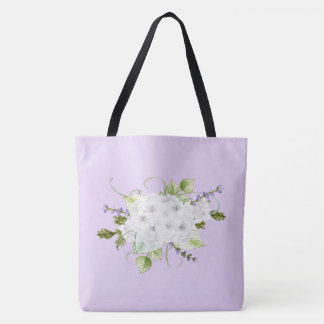 Watercolor Style Hydrangeas and Lilacs Tote Bag