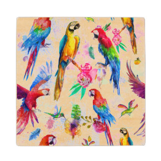 Watercolor Style Parrots 2 Wood Coaster