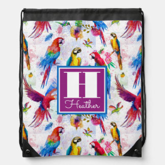 Watercolor Style Parrots | Add Your Name Drawstring Bag