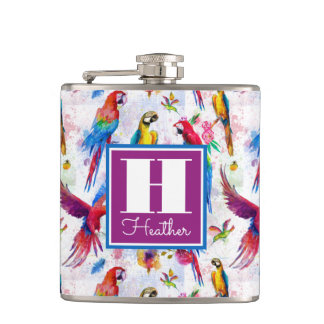 Watercolor Style Parrots | Add Your Name Hip Flask