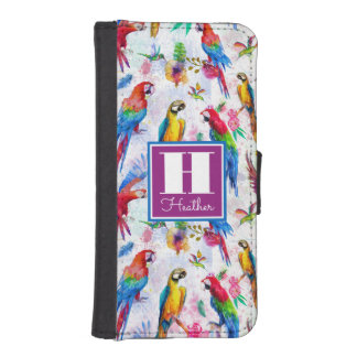 Watercolor Style Parrots | Add Your Name iPhone SE/5/5s Wallet Case