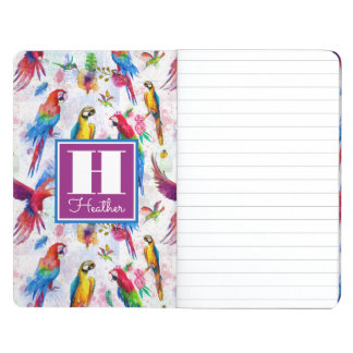 Watercolor Style Parrots | Add Your Name Journals