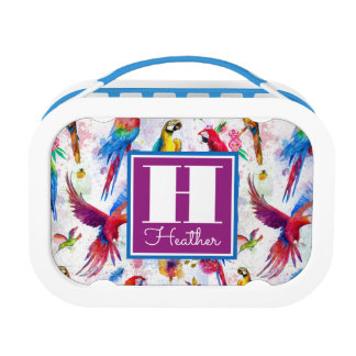 Watercolor Style Parrots | Add Your Name Lunch Boxes