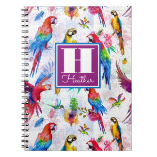 Watercolor Style Parrots | Add Your Name Spiral Notebooks