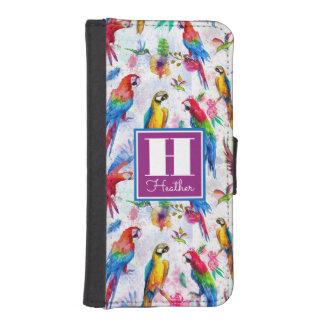 Watercolor Style Parrots | Monogram