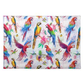 Watercolor Style Parrots Placemat