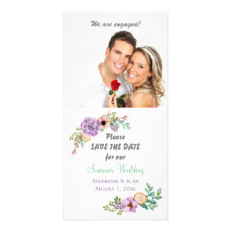 Watercolor Succulent Botanical Save The Date Photo Card