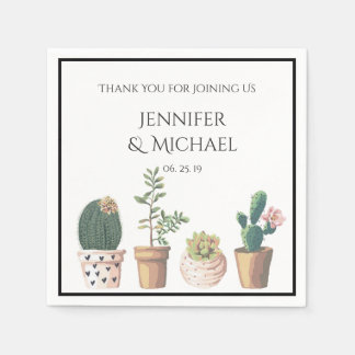 Watercolor Succulent Cactus Wedding Custom Disposable Serviette